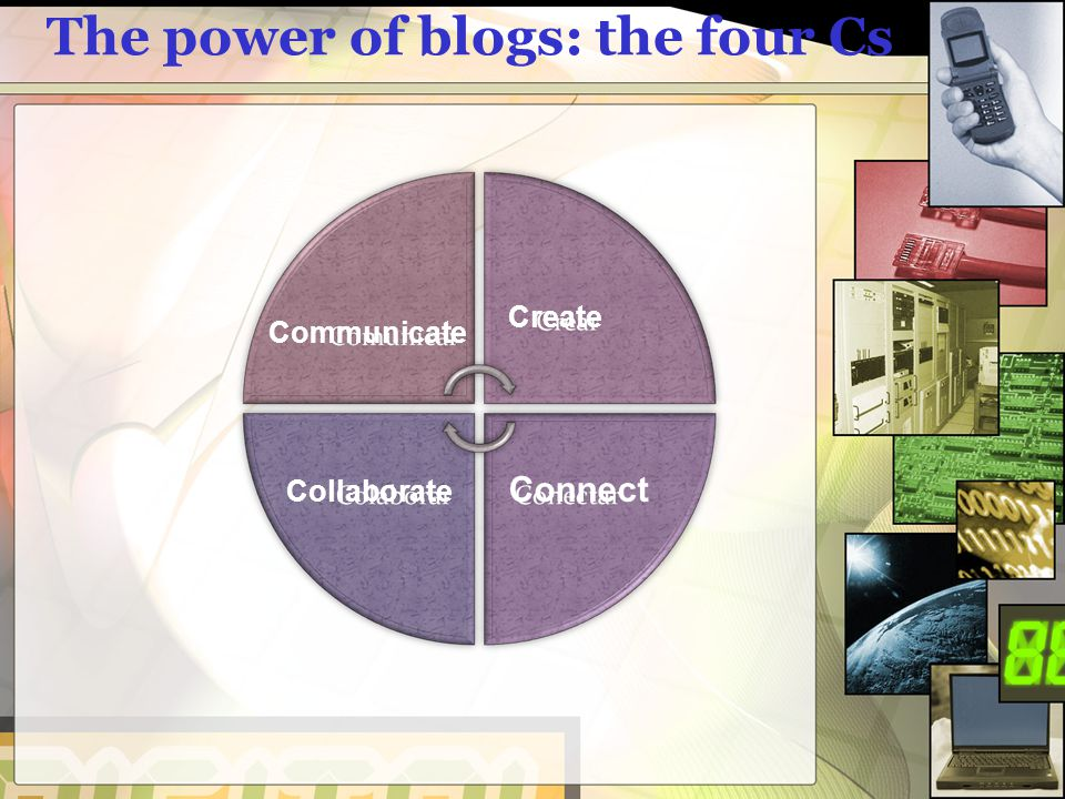 The power of blogs: the four Cs Communicate Create Collaborate Connect