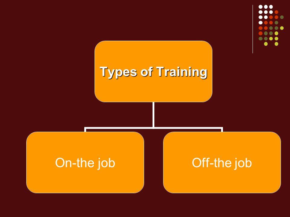 Types of Training On-the jobOff-the job