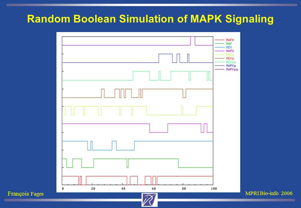 François Fages MPRI Bio-info 2006 Random Boolean Simulation of MAPK Signaling