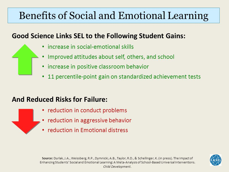 How SEL Contributes to Student Success Better Academic Performance Greater Success in School, Work, and Life Greater Attachment, Engagement and Commitment to School Less Risky Behavior, More Positive Development Effective Learning Environments: Safe Caring Well-Managed Engaging Supportive High Expectations SE skills Instruction: Self-awareness Social awareness Self-management Relationship skills Responsible decisions Evidence-based SEL Programming Inputs Proximal Outcomes Distal Outcomes Source: Collaborative for Academic, Social, and Emotional Learning