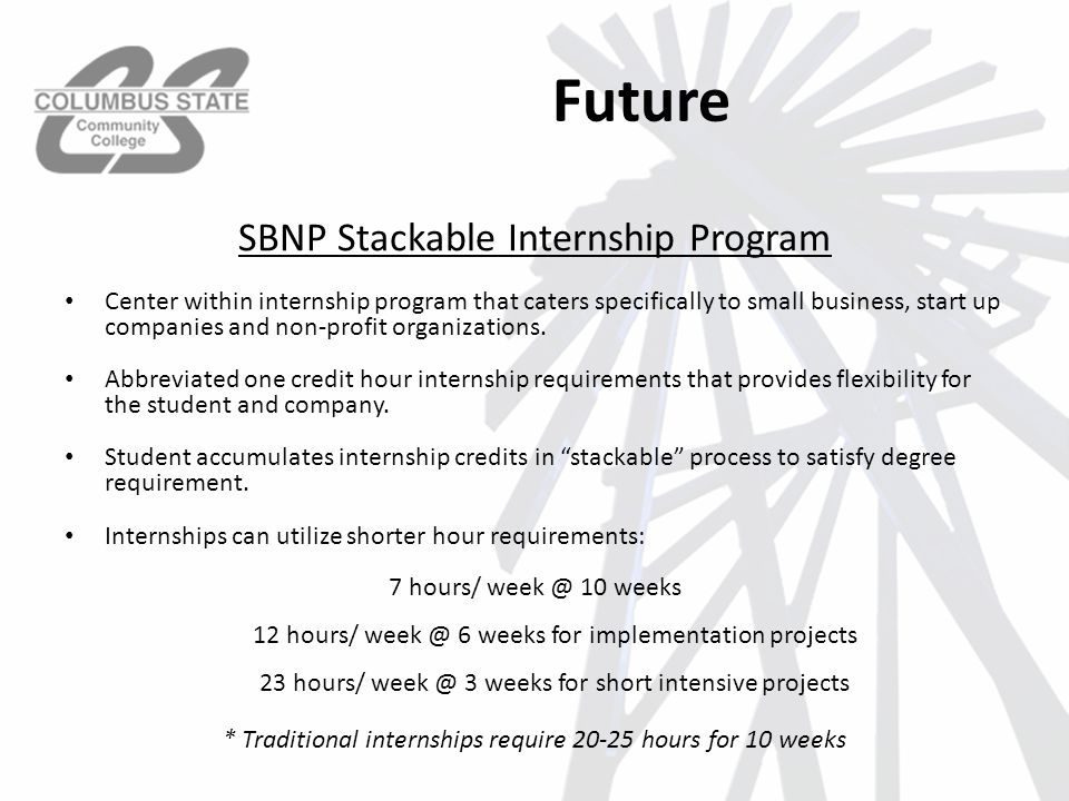 Future Center within internship program that caters specifically to small business, start up companies and non-profit organizations.