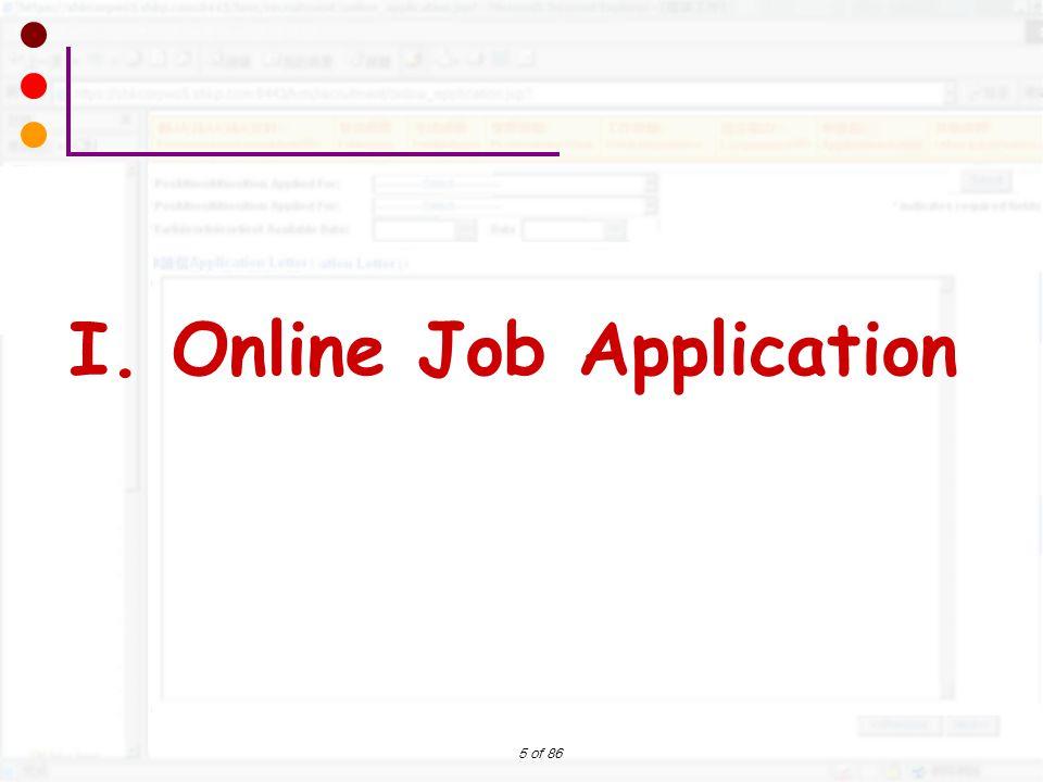 5 of 86 I. Online Job Application