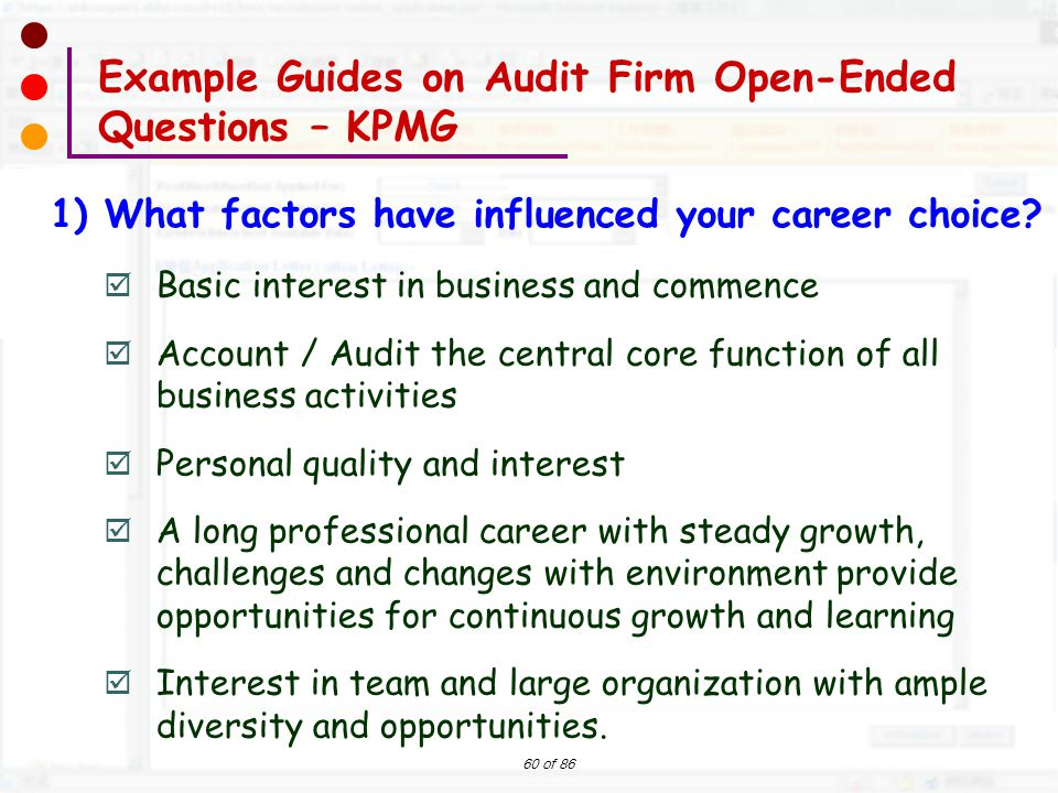 60 of 86  Basic interest in business and commence  Account / Audit the central core function of all business activities  Personal quality and inter