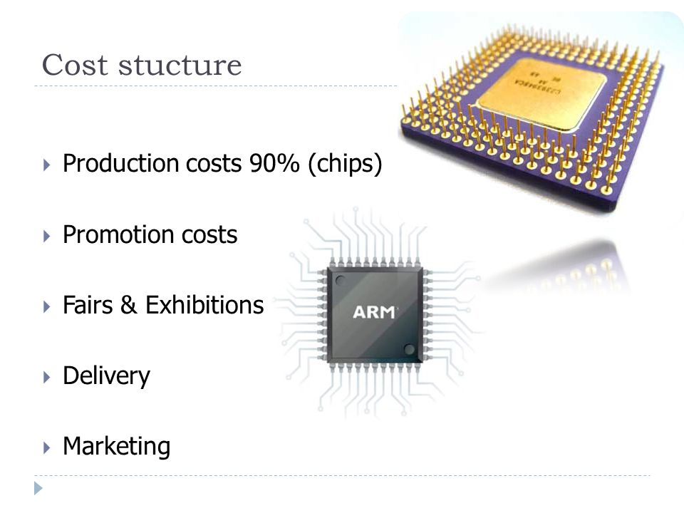 Cost stucture  Production costs 90% (chips)  Promotion costs  Fairs & Exhibitions  Delivery  Marketing