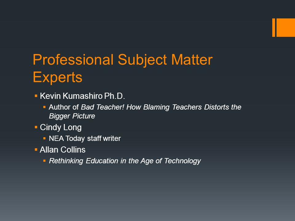 Colleagues  Donald Vigil  Delta High School Technology Instructor  Constant source of support and great to bounce ideas off of  Kelly Ryan-Johnson  Delta High School English Teacher and Web-design instructor  Imaginative instructor who inspires with technology  Anthony Cooper  School District IT coordinator  Technical guru that everyone needs to know.
