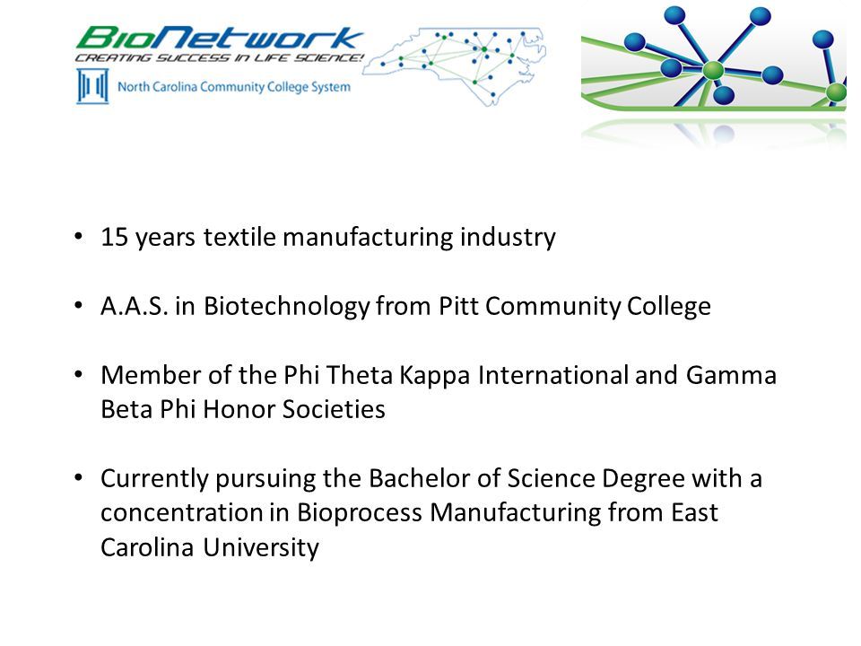 15 years textile manufacturing industry A.A.S.