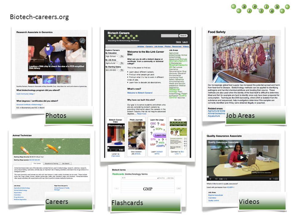 Biotech-careers.org Area Education Salary - Articles - Careers Job Areas Videos Flashcards PhotosCareersFlashcardsVideosJob Areas