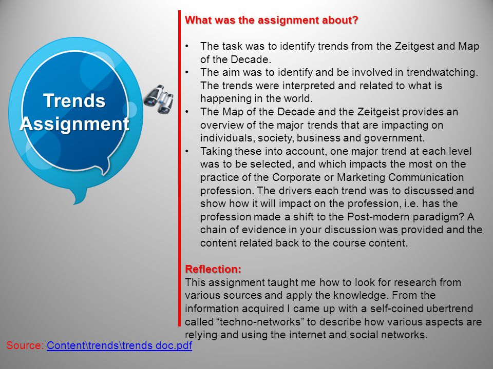 TrendsAssignment Source: Content\trends\trends doc.pdf What was the assignment about? The task was to identify trends from the Zeitgest and Map of the