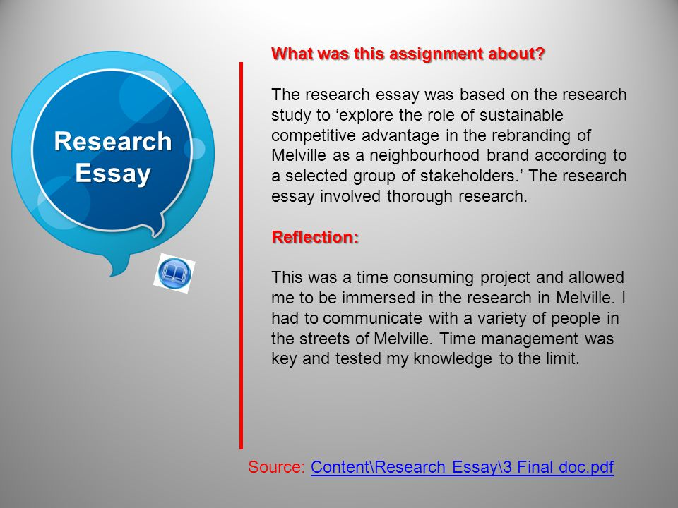 ResearchEssay Source: Content\Research Essay\3 Final doc.pdf What was this assignment about.