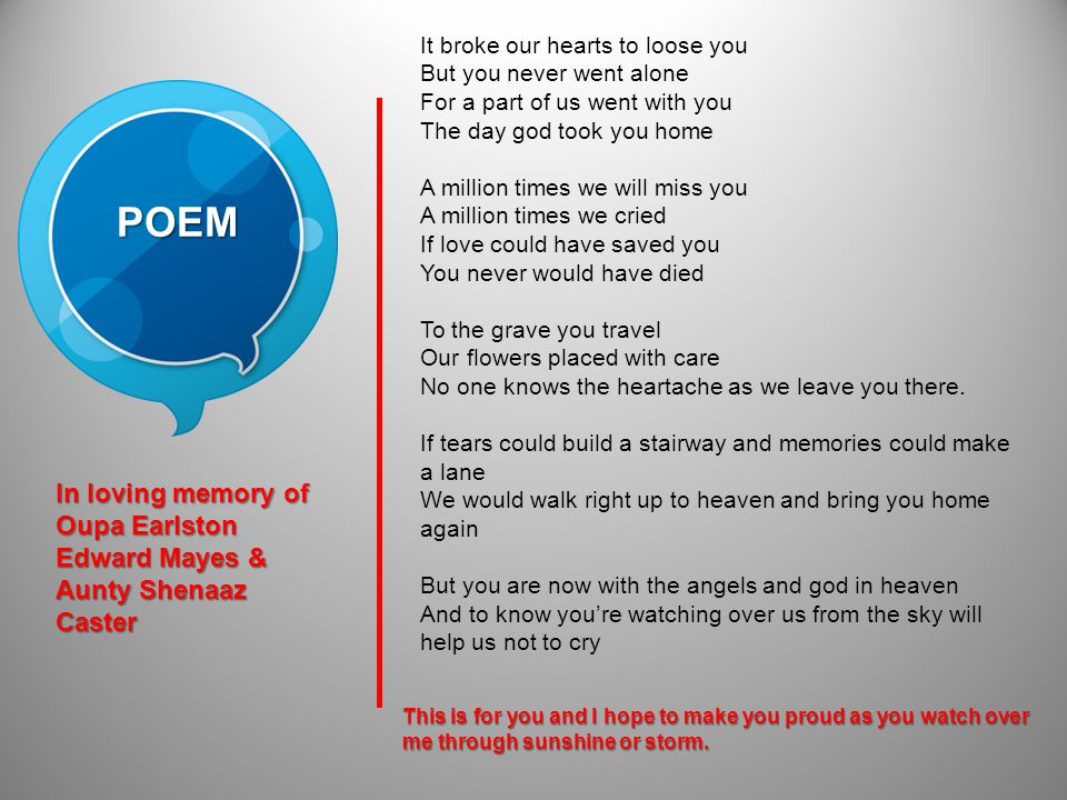 POEM It broke our hearts to loose you But you never went alone For a part of us went with you The day god took you home A million times we will miss you A million times we cried If love could have saved you You never would have died To the grave you travel Our flowers placed with care No one knows the heartache as we leave you there.