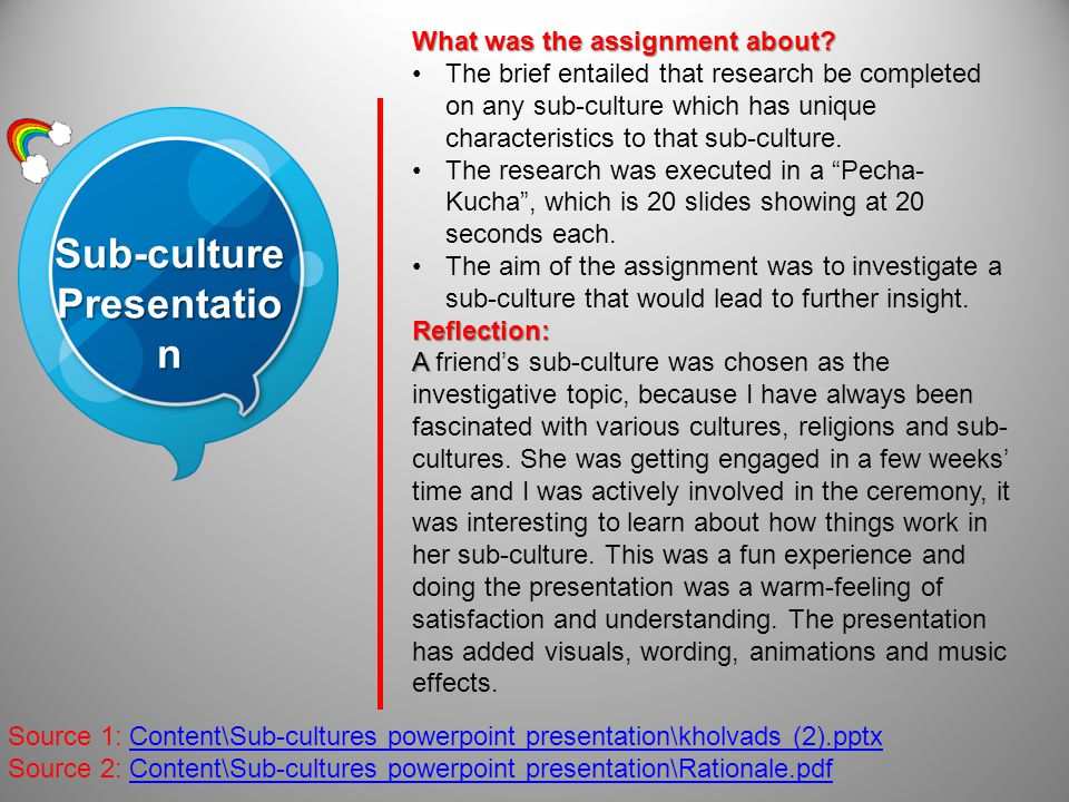 Sub-culture Presentatio n Source 1: Content\Sub-cultures powerpoint presentation\kholvads (2).pptx Source 2: Content\Sub-cultures powerpoint presentation\Rationale.pdf What was the assignment about.