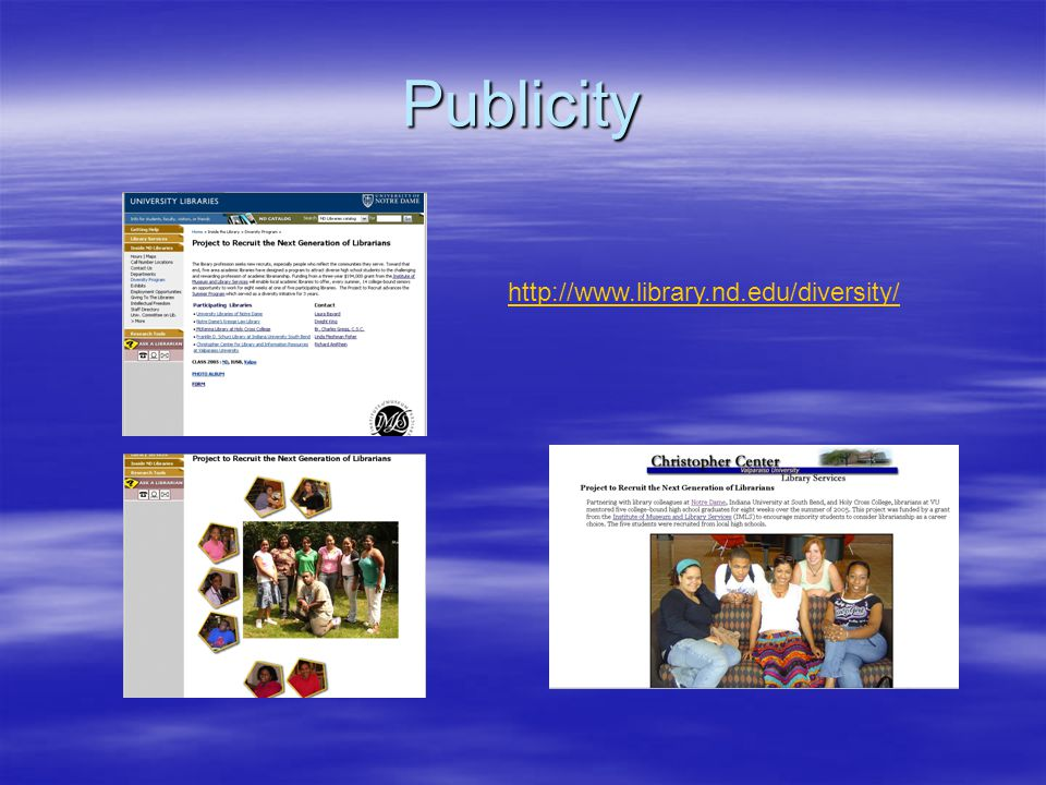 Publicity http://www.library.nd.edu/diversity/