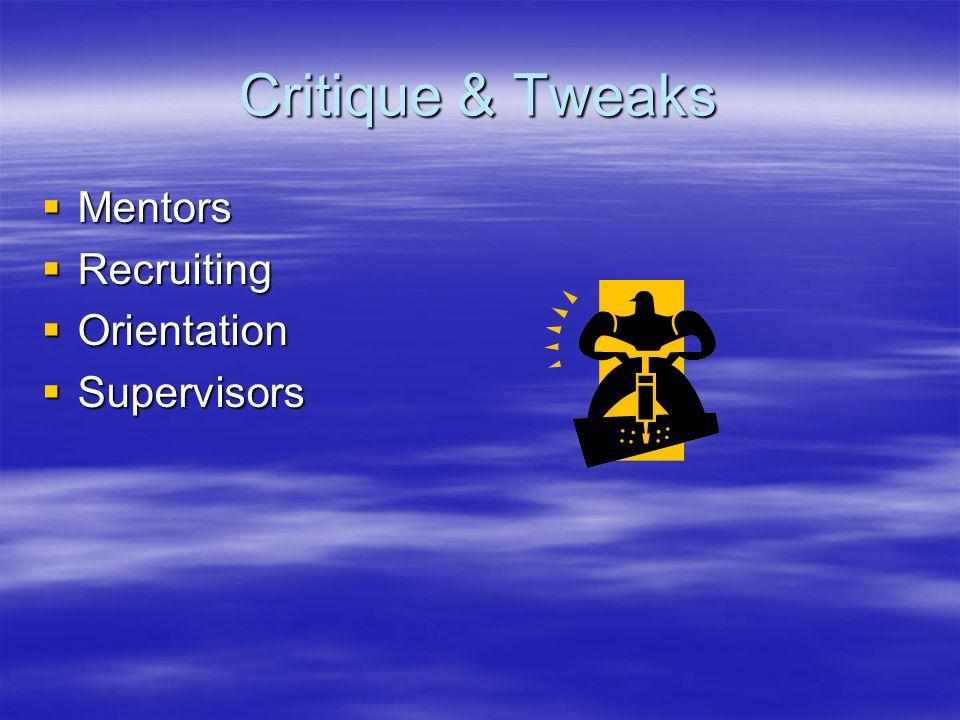 Critique & Tweaks  Mentors  Recruiting  Orientation  Supervisors