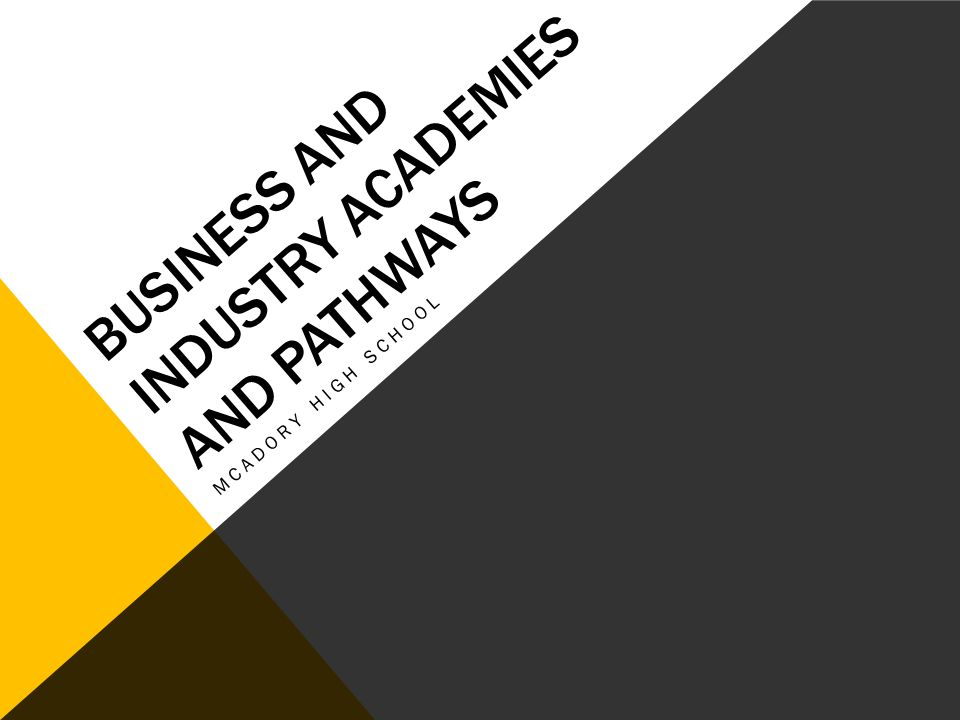 BUSINESS AND INDUSTRY ACADEMIES AND PATHWAYS MCADORY HIGH SCHOOL