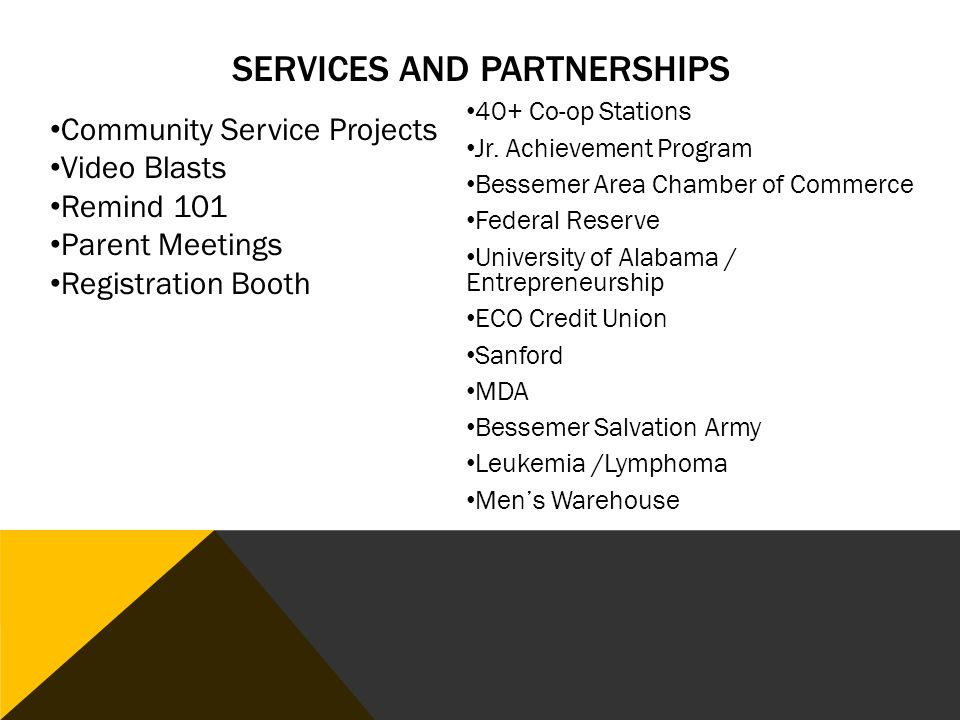 SERVICES AND PARTNERSHIPS 40+ Co-op Stations Jr.