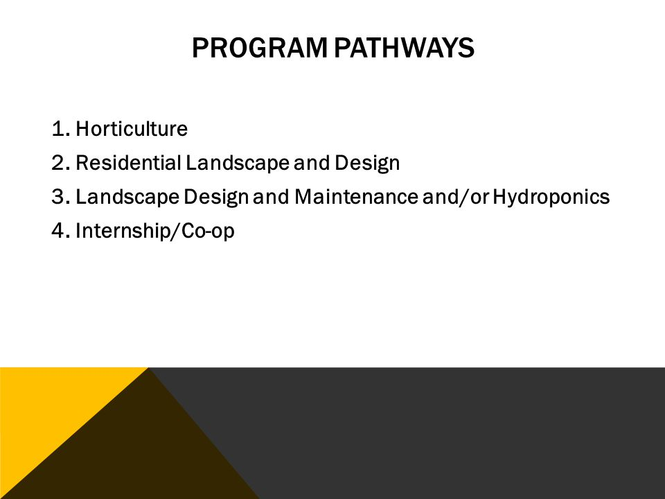 PROGRAM PATHWAYS 1. Horticulture 2. Residential Landscape and Design 3.