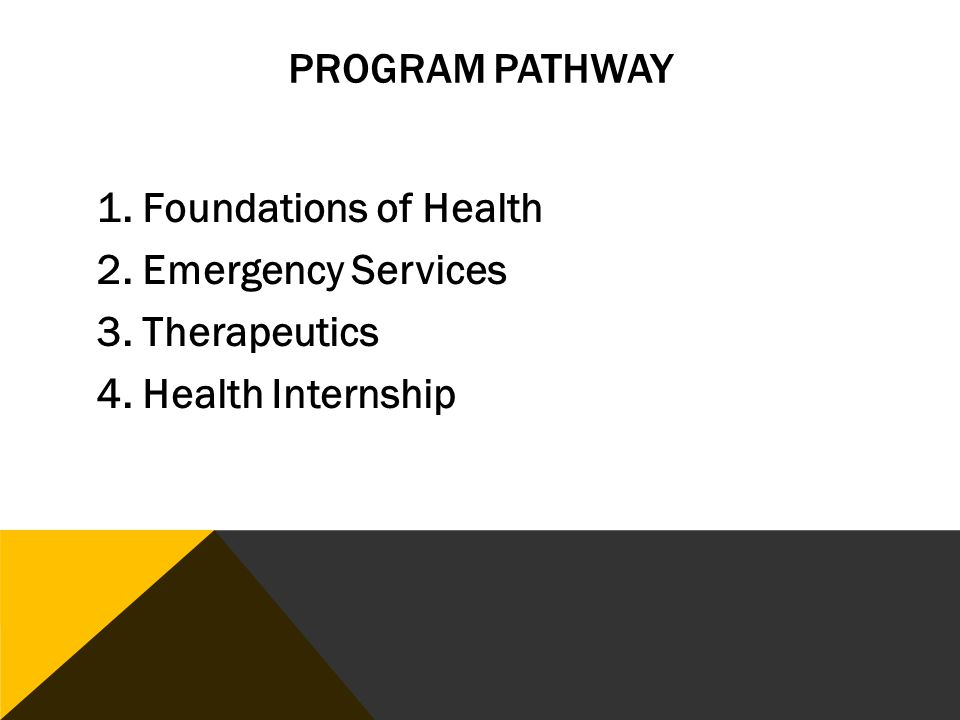 PROGRAM PATHWAY 1. Foundations of Health 2. Emergency Services 3. Therapeutics 4. Health Internship