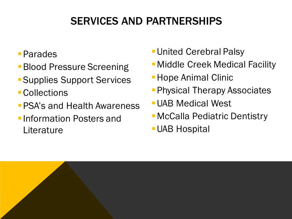  Parades  Blood Pressure Screening  Supplies Support Services  Collections  PSA's and Health Awareness  Information Posters and Literature  United Cerebral Palsy  Middle Creek Medical Facility  Hope Animal Clinic  Physical Therapy Associates  UAB Medical West  McCalla Pediatric Dentistry  UAB Hospital SERVICES AND PARTNERSHIPS