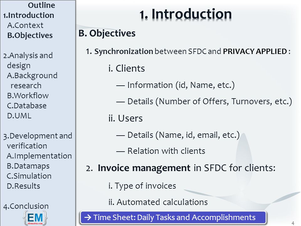 B. Objectives 1. Synchronization between SFDC and PRIVACY APPLIED : i.