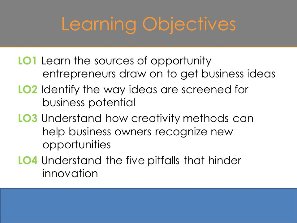 Learning Objectives LO1 Learn the sources of opportunity entrepreneurs draw on to get business ideas LO2 Identify the way ideas are screened for business potential LO3 Understand how creativity methods can help business owners recognize new opportunities LO4 Understand the five pitfalls that hinder innovation 4-2