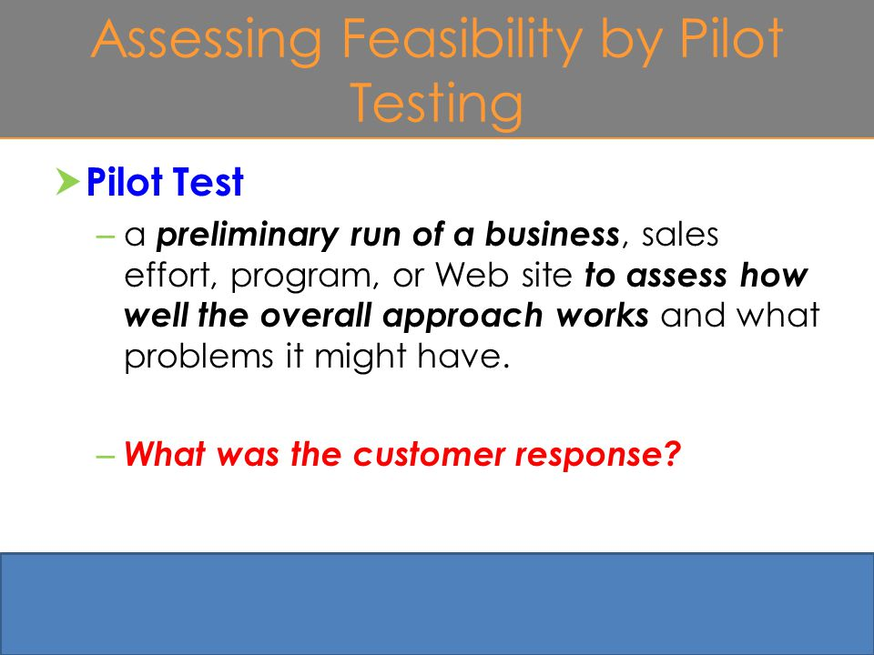 Assessing Feasibility by Pilot Testing  Pilot Test – a preliminary run of a business, sales effort, program, or Web site to assess how well the overall approach works and what problems it might have.