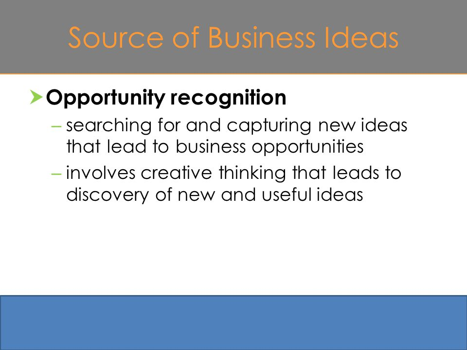 Source of Business Ideas  Opportunity recognition – searching for and capturing new ideas that lead to business opportunities – involves creative thinking that leads to discovery of new and useful ideas 4-5