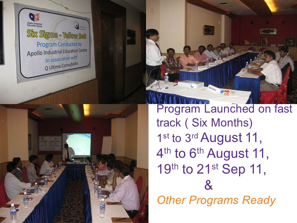 Program Launched on fast track ( Six Months) 1 st to 3 rd August 11, 4 th to 6 th August 11, 19 th to 21 st Sep 11, & Other Programs Ready
