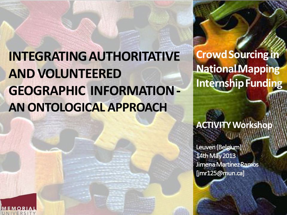 INTEGRATING AUTHORITATIVE AND VOLUNTEERED GEOGRAPHIC INFORMATION - AN ONTOLOGICAL APPROACH Crowd Sourcing in National Mapping Internship Funding ACTIV