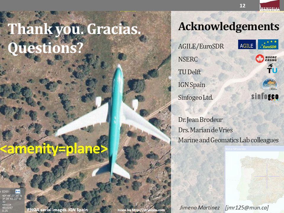 Thank you. Gracias. Questions? 12 AGILE/EuroSDR NSERC TU Delft IGN Spain Sinfogeo Ltd. Dr. Jean Brodeur Drs. Marian de Vries Marine and Geomatics Lab
