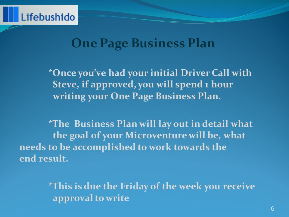 *Once you've had your initial Driver Call with Steve, if approved, you will spend 1 hour writing your One Page Business Plan.