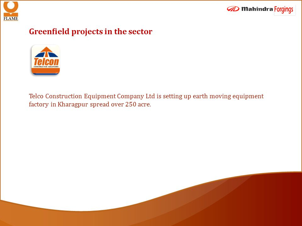 Greenfield projects in the sector Telco Construction Equipment Company Ltd is setting up earth moving equipment factory in Kharagpur spread over 250 acre.