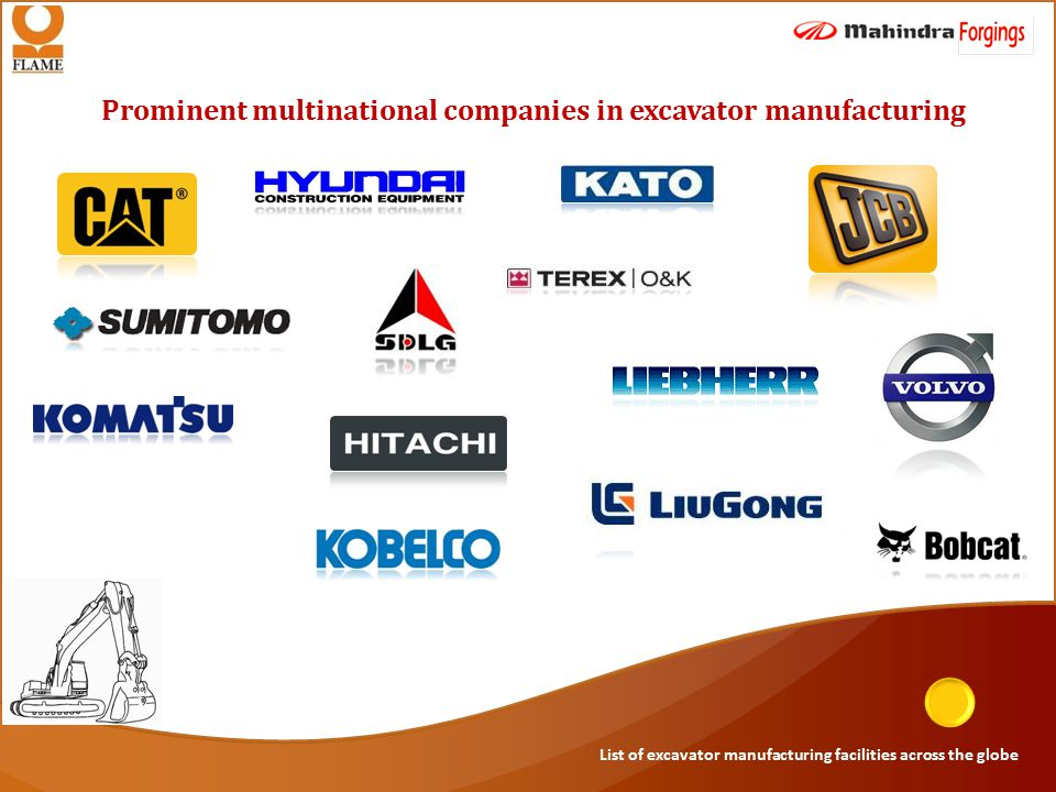 Prominent multinational companies in excavator manufacturing List of excavator manufacturing facilities across the globe