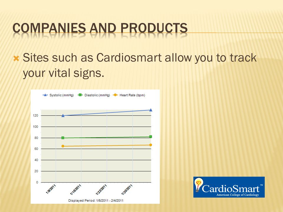  Sites such as Cardiosmart allow you to track your vital signs.