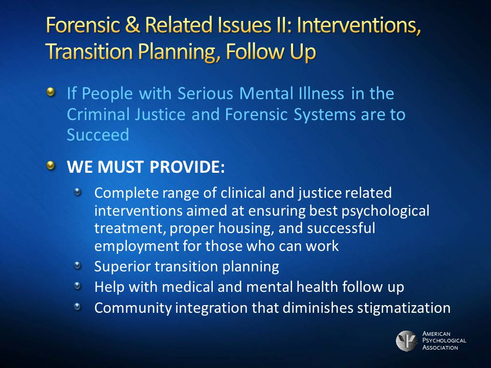 A MERICAN P SYCHOLOGICAL A SSOCIATION If People with Serious Mental Illness in the Criminal Justice and Forensic Systems are to Succeed WE MUST PROVID