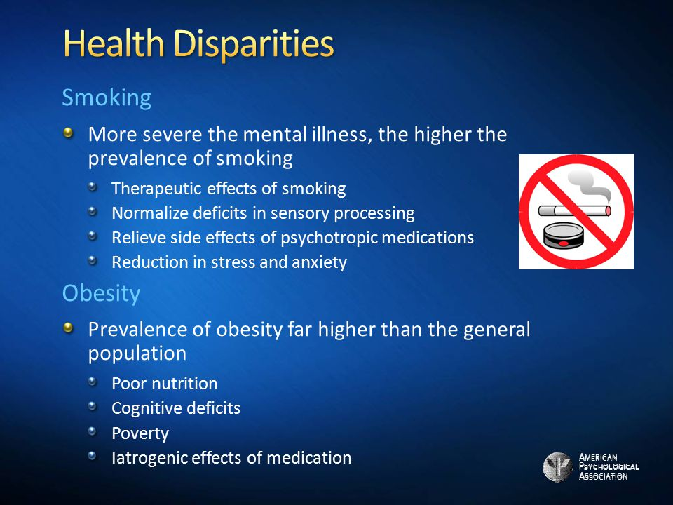 A MERICAN P SYCHOLOGICAL A SSOCIATION Smoking More severe the mental illness, the higher the prevalence of smoking Therapeutic effects of smoking Norm