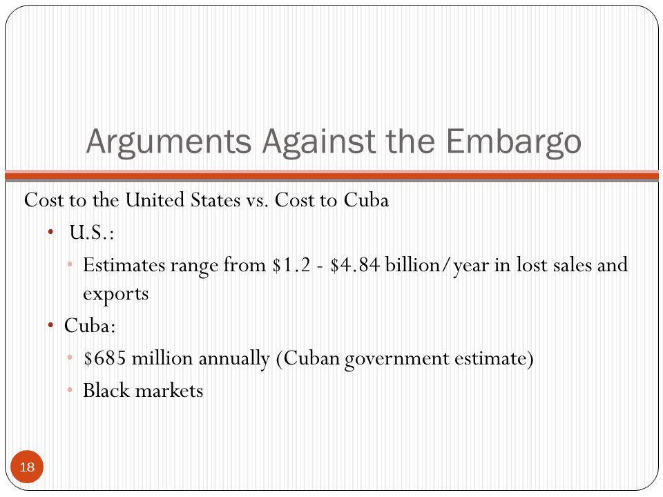 Arguments Against the Embargo Cost to the United States vs.
