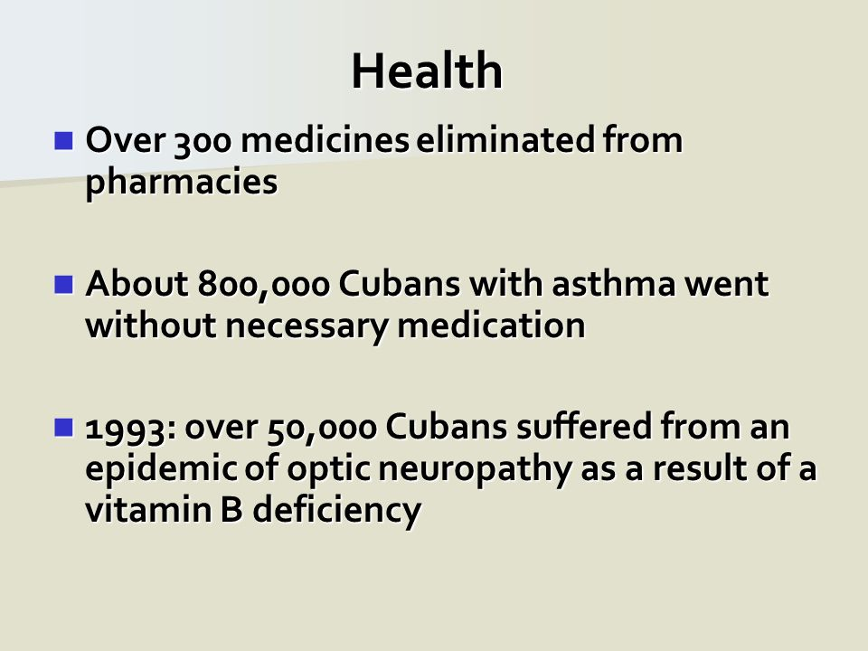 Health Over 300 medicines eliminated from pharmacies Over 300 medicines eliminated from pharmacies About 800,000 Cubans with asthma went without neces