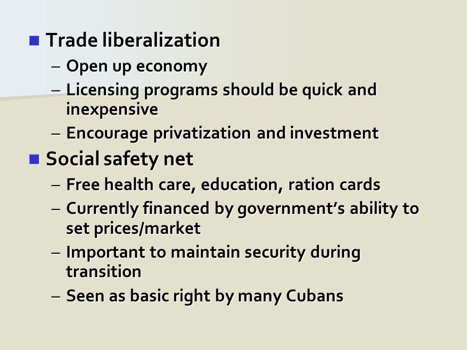 Trade liberalization Trade liberalization –Open up economy –Licensing programs should be quick and inexpensive –Encourage privatization and investment