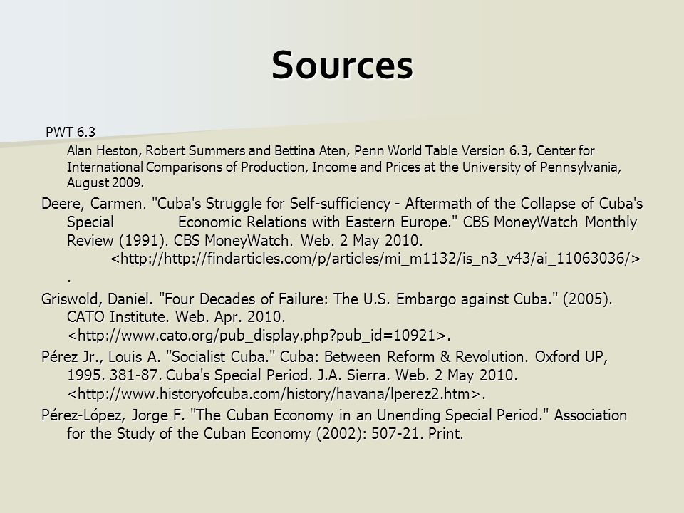 Sources PWT 6.3 PWT 6.3 Alan Heston, Robert Summers and Bettina Aten, Penn World Table Version 6.3, Center for International Comparisons of Production