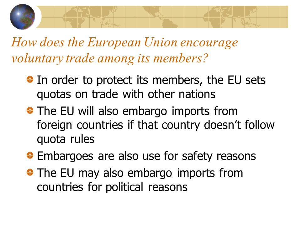 Quick Quiz Decide if the examples below represent a tariff, quota, or embargo ___ 1.