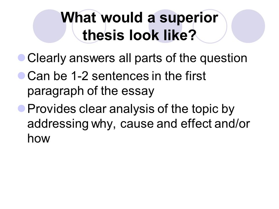 What would a superior thesis look like? Clearly answers all parts of the question Can be 1-2 sentences in the first paragraph of the essay Provides cl