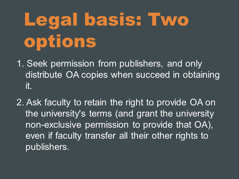 Legal basis: Two options 1.