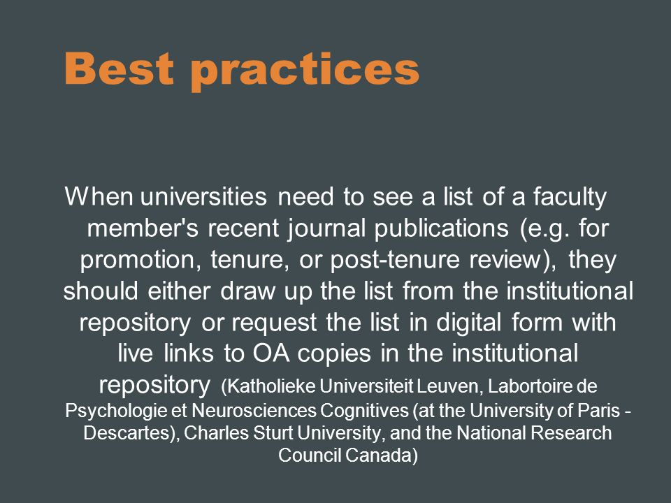 Best practices When universities need to see a list of a faculty member s recent journal publications (e.g.
