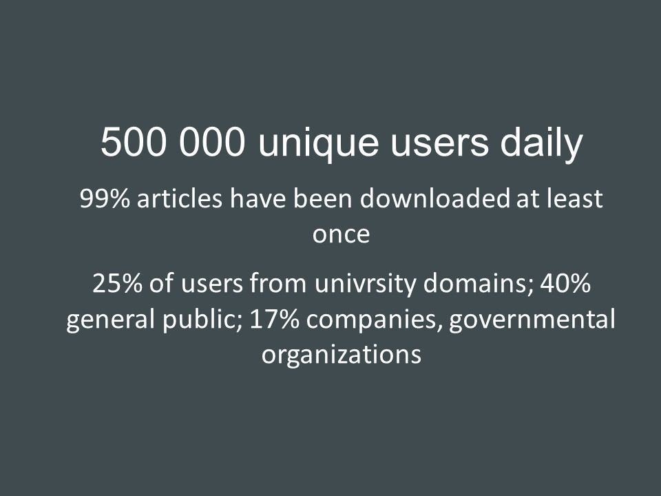 500 000 unique users daily 99% articles have been downloaded at least once 25% of users from univrsity domains; 40% general public; 17% companies, governmental organizations