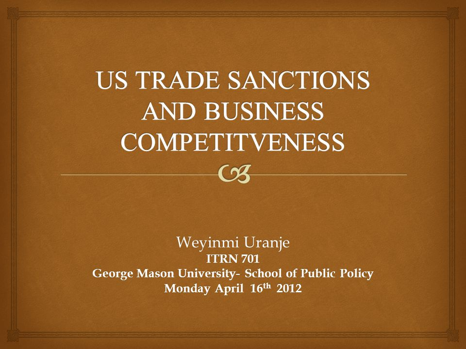 Weyinmi Uranje ITRN 701 George Mason University- School of Public Policy Monday April 16 th 2012