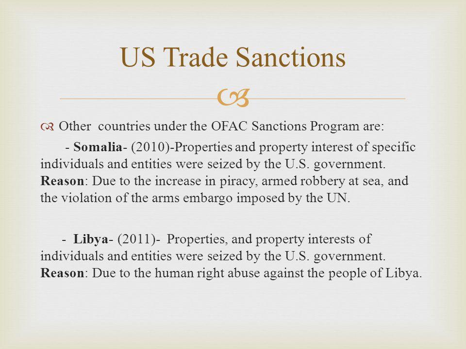  U.S. Trade Sanctions (IRAN)