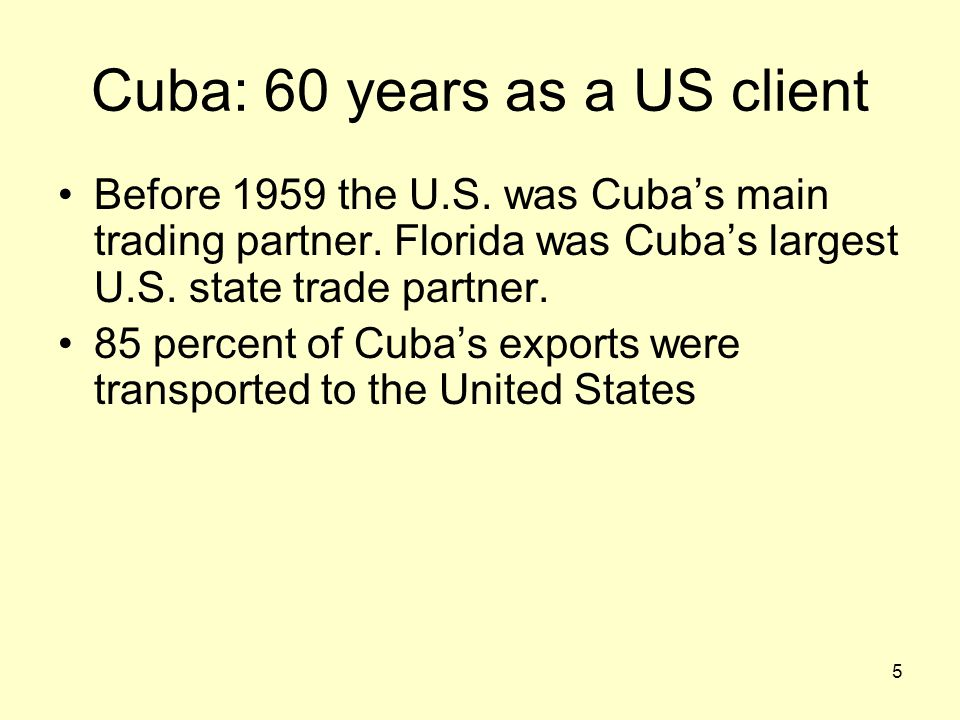 6 Cuba: 48 years as a US enemy 1959: Fidel Castro: The Cuban government passed the first Agrarian Reform Law 1960: President Eisenhower imposed a partial economic embargo 1962: President Kennedy expands embargo and prohibit travel to Cuba 1992: Cuban Democratic Act (Robert Torricelli Act) 1996: Cuban Liberty and Democratic Solidarity Act (the Helms-Burton Act) 2000: Trade sanction reform and export enhancement act (TSRA)