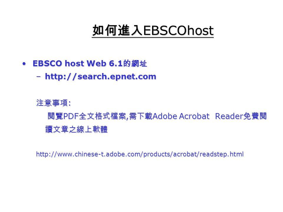 EBSCO host Web 6.1 的網址EBSCO host Web 6.1 的網址 –http://search.epnet.com 注意事項 : 閱覽 PDF 全文格式檔案, 需下載 Adobe Acrobat Reader 免費閱 讀文章之線上軟體 閱覽 PDF 全文格式檔案, 需下載 Adobe Acrobat Reader 免費閱 讀文章之線上軟體http://www.chinese-t.adobe.com/products/acrobat/readstep.html 如何進入 EBSCOhost