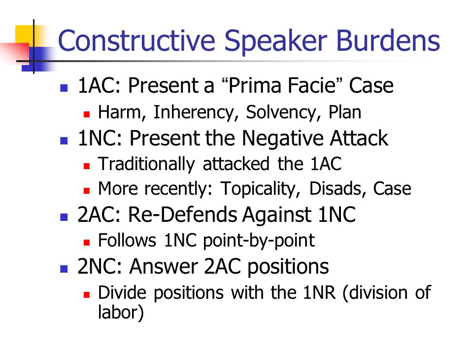 "Constructive Speaker Burdens 1AC: Present a ""Prima Facie"" Case Harm, Inherency, Solvency, Plan 1NC: Present the Negative Attack Traditionally attacked"