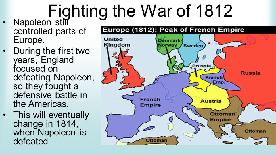 Fighting the War of 1812 Napoleon still controlled parts of Europe.